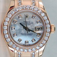Rolex Lady Pearlmaster Gold Mother of Pearl Double Diamond 80298 - WATCH CHEST