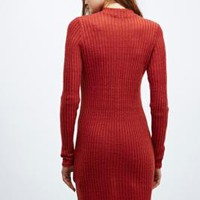 Urban Outfitters Bushed Turtleneck Dress in Copper - Urban Outfitters