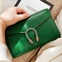 GUCCI New fashion leather shoulder bag crossbody bag Green