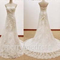 Ruffled Strapless Lace Applique SLace-up Long Celebrity Wedding Dress , Court Train Formal Evening Party Prom Dress New Homecoming Dress
