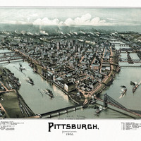 Antique Map of Pittsburgh Pennsylvania 1902 Allegheny County