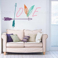 Boho Love wall decal with arrows and feathers, wall art
