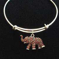 Lucky Garnet Crystal Elephant Charm on a Silver Adjustable Wire  Bangle Bracelet Expandable Trendy Stacking Red Crystal