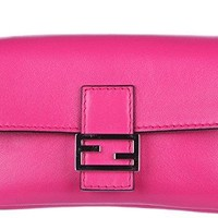 Fendi women's clutch with shoulder strap handbag bag purse micro baguette fucsi