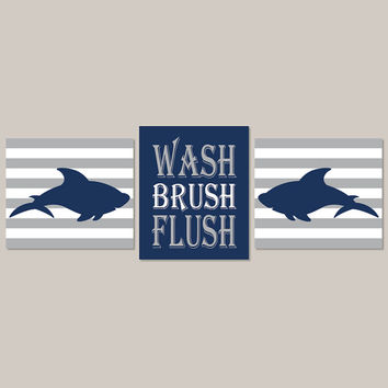 Shark Bathroom, Kids Bathroom Decor, Shark Bathroom Wall Art, Wash Brush Flush, Navy Gray Bathroom, Boy Bathroom Set of 3 Prints Or Canvas