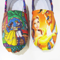 Beauty and the Beast Shoes (Toms, Disney, Slip ons, Flats, Belle, Princess) Men, Women, Kids, Youth