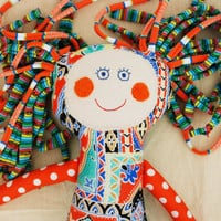 Handmade Rag Doll, Small Gift for a Little Girl, Turquoise Orange Doll, Baby Stuffed Doll, Toddler Soft Toys, First Birthday Gift, Baby Gift
