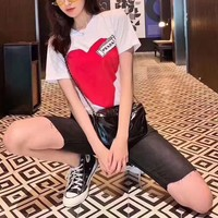 """ Prada"" Woman Casual Fashion Letter Definitive Personality Hearts Printing Custom Fit Short Sleeve T-Shirt Tops"