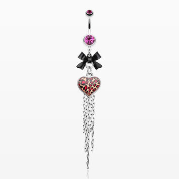 zzz-Leopard Heart Bow-Tie Belly Button Ring