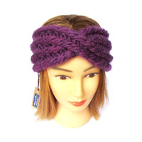 Twisted headband - headband with a twist - purple knit headband -  chunky knit purple headband - chunky knit hair accessory turban hairband