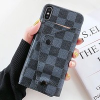 LV Louis Vuitton Fashion New Monogram Leather Women Men Card Protective Cover Phone Case-1