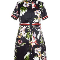 Zara Floral Print Short Sleeve Button Down Sheath Dress