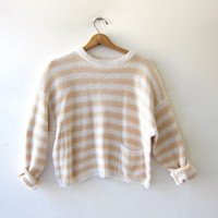 vintage creamy white & yellow sweater. Cropped sweater.  pullover. preppy sweater.