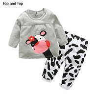 Top and Top Baby Girls Clothing Set Cartoon Cow T Shirt + Pants 2pcs /set Newborn Girl Clothes suit