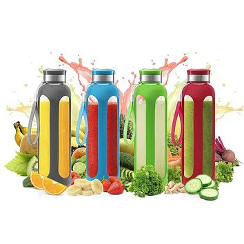 SWIG SAVVY Glass Water Bottle With Protective Silicone Sleeve & Leak Proof Lid