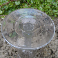 Antique wine glass - 18th century etched cut wine glass with faceted stem and bowl - etched graped and leaves - rare stemware glass c 1780