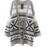 Geometric Open Front Knitted Cardigan