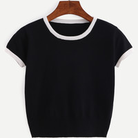 Contrast Trim Crop Knitted T-shirt - Black