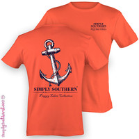 Southern Unisex Preppy Anchor T-Shirt on Coral Silk