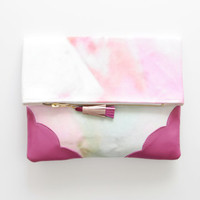 FLORA  27 / Floral cotton & Natural leather folded clutch - Ready to Ship