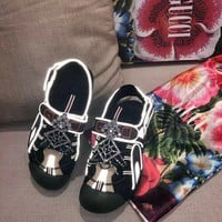 Gucci Women's Leather And Mesh Sandal With Crystals Style 1 - Best Online Sale