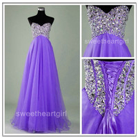 Stunning A-line Sweetheart Sweep Train Prom Dress-Purple