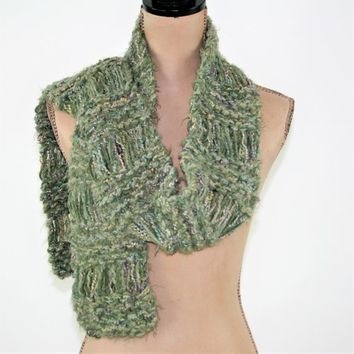 Green Knitted Scarf Women Soft Fuzzy Scarf Hand Knit Green Scarf Handmade Scarf Drop Stitch Winter Scarves for Womens