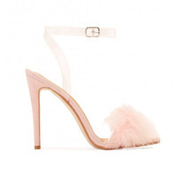 Kitty Faux Feather Stilettos Blush Pink