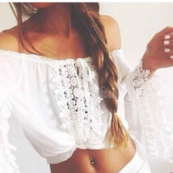 Lace Off-Shoulder Long Sleeve Cropped Top
