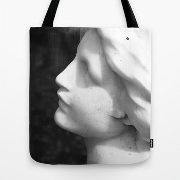 Tote Bag with Black and White Photograph of Angelic Marble Statue, Monochromatic Canvas Bag.