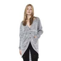 Womens Grey Combo Grayson Hi-Lo Vneck Cardigan Long Sleeve Sweater By One Grey Day