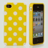 eFuture(TM) Yellow&white Polka dots flexi Gel TPU cover case fit for iphone4 4G 4S +eFuture's nice