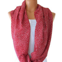 Mystical Burgundy and White polka dot Infinity Scarf  Chiffon Loop Infinity Scarves. Circle Scarf ,Womens Accessories.