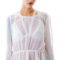 Moon Collection Dot Me Up Cut Out Blouse Ivory