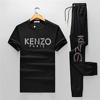 Boys & Men Kenzo Fashion Casual Shirt Top Tee Pants Trousers Set Two Piece
