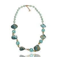 Abalone and Faux Pearl Antiqued Necklace