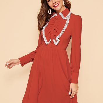 Jabot Collar Lace Trim Button Detail Dress