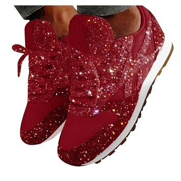 Womens Fashion Casual Breathable Bling Lace Up Sport Running Shoes Sneakers Size