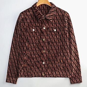 Fendi New fashion more letter print men corduroy long sleeve coat jacket
