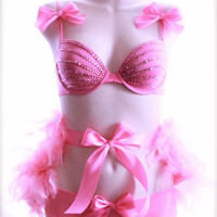 34B/Med - Bubblegum Pink rhinestone Bra and Panty set with Feather Bustle - burlesque Lingerie valentine's day