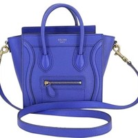 Céline Luggage Smooth Leather Blue Nano (likenew Condition; Dust Bay Included) Nano Blue Tote Bag