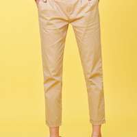 LE3NO Womens Twill Utility Cargo Cropped Chino Pants Trousers with Belt