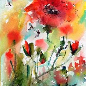 Red Poppies and Bees Provence Original Watercolor and Ink
