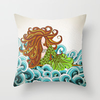 Mermaid Waves Throw Pillow by ArtLovePassion