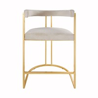 Cromwell Ivory Velvet & Gold Counter Stool