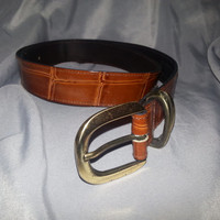 Vintage Brown Genuine Leather Belt by The White Elephant - Size Medium