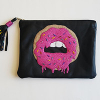 Donut Mouth Leather Pouch. Small Leather Clutch. Small Leather Bag. Leather Makeup Bag. Leather Cosmetic Bag. FREE SHİPPİNG