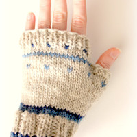 Fingerless mittens, knit mittens, beige gloves, fingerless gloves, wrist warmers, gauntlets, gift idea, wool mittens, mitts