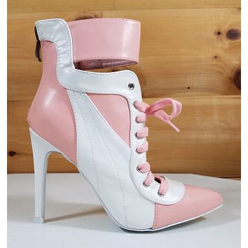 """CR Pink & White Pointy Toe Lace Up Sporty 4.5"""" High Heel Ankle Sneaker Boots"""