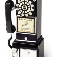 Crosley CR56-BK 1950's Payphone with Push Button Technology (Black)